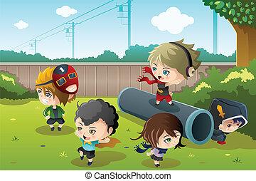 Kinder spielen im Park.