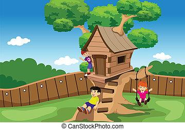 Kinder spielen in einem Baumhaus