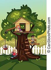 Kinder spielen in einem Baumhaus.