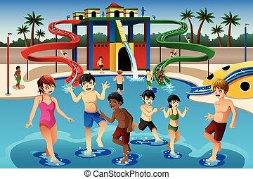 Kinder spielen in einem Wasserpark.