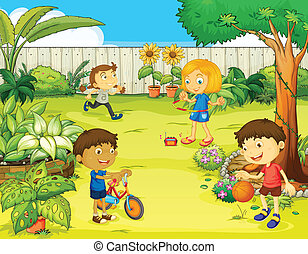 Kinder spielen in einer wunderschönen Natur.