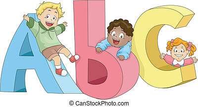 Kinder spielen mit Abc's
