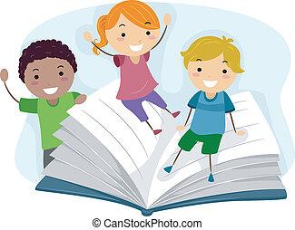 Kinder spielen mit einem Buch