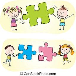 Kinder spielen mit Puzzle.