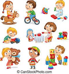 Kinder spielen mit Spielzeug