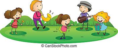 Kinder spielen Musik.