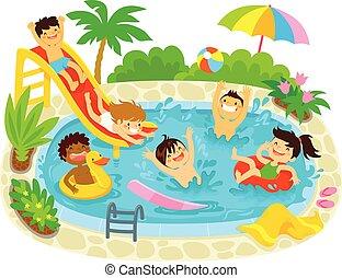 kinder, spielen schwimmbad, schwimmender
