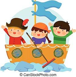 kinder, spielende , piraten