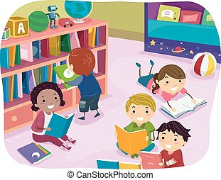 kinder, stickman, lesende , vorschulisch, zeit