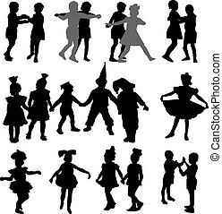 Kinder tanzende Silhouette