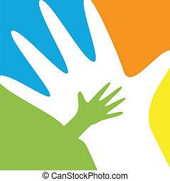 Kinder und Elternhände