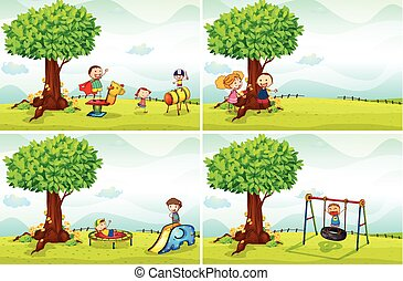 Kinder und Park.