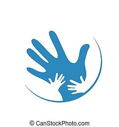 Kinder und Vater Hände zusammen.