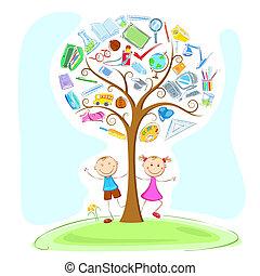 Kinder unter dem Weisheitsbaum