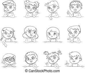 Kinder verschiedener Nationalitäten und verschiedene Gesten mit leerem weißem Brett. Logotyp