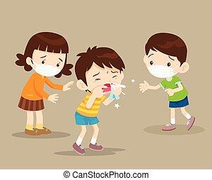 Kinder werden krank, blasen die Nase