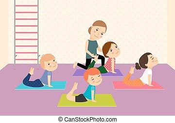 Kinder Yoga mit Lehrer.