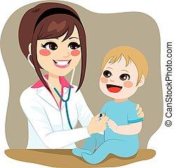 Kinderarzt untersucht Baby.