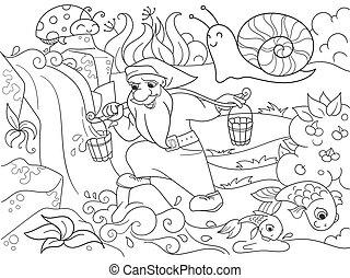 Kinderfarbe. Ein magischer Zwerg holt Wasser in einem Bach