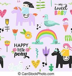 Kinderloses Muster mit süßen Mädchen auf Pony, Regenbogen und Blumen. Kreative Kinder Hintergrund für Stoff, Textil, Tapeten, Papier. Vector Illustration