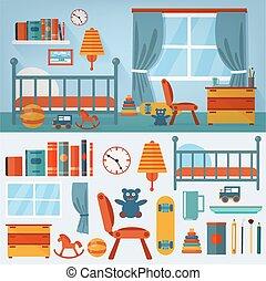 Kinderschlafzimmer mit Möbeln und Spielzeug