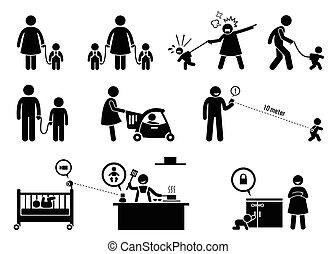 Kindersicherheit und Überwachungsausrüstung.