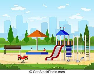 Kinderspielplatz. Stadtparkplatz Freizeit-Aktivitäten im Freien Landschaftsgarten mit Illustration