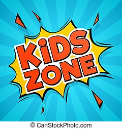 Kinderzone. Abstract color cartoon Kinder Logo für Aufkleber und Spielzimmer, Spielplatz und Banner Design isoliert Vektor-Bild
