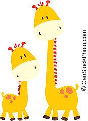 Kindische Giraffe und Mami