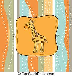 Kindische Grußkarte mit Giraffe.