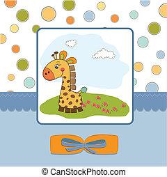 Kindische Grußkarte mit Giraffe