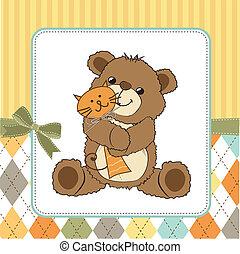 Kindische Grußkarte mit Teddybär und seinem Spielzeug