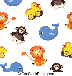 Kindisches, nahtloses Muster mit lustigen, bezaubernden Spielzeugtieren - Affe, Ente, Wal, Löwe auf weißem Hintergrund. Farbige Vektorgrafik für Wallpaper, Textildruck, Hintergrund, Verpackungspapier.