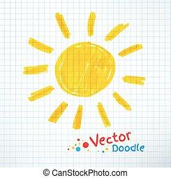 Kindliche Zeichnung der Sonne.