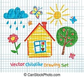 Kindliche Zeichnung