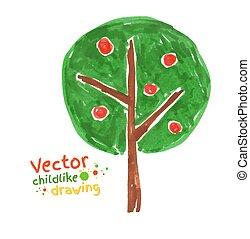 Kindliche Zeichnung von Apfelbaum.