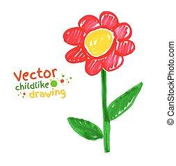 Kindliche Zeichnung von Blume.