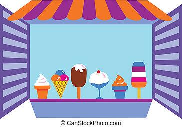 Kiosk, der Eis verkauft.