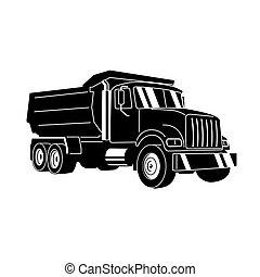 kipper, müllkippe, vektor, karikatur, truck.