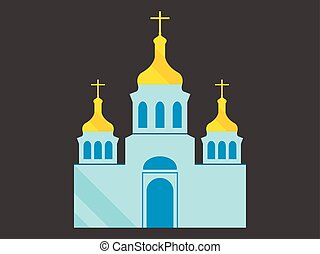 Kirche mit Kuppeln, Wohnungsstil, christliche religiöse Architektur. Vector Illustration