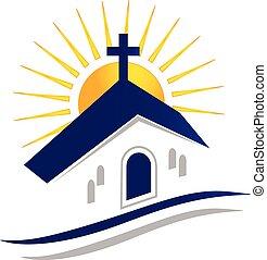 Kirche mit Sonnenlogo-Ikone.