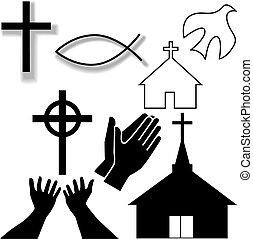 Kirche und andere christliche Symbole sind aufgestellt