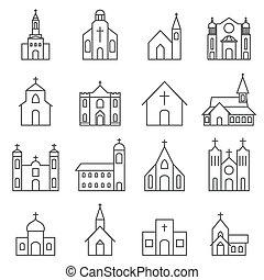 Kirchengebäude Ikonenvektoren eingestellt.