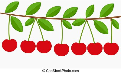 Kirschbaumzweig voller Früchte.