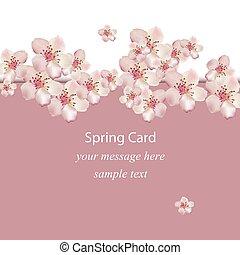 Kirschblüten Frühlingskarte Vector Illustration. Dekor zum Hochzeitstag, Hochzeit, Geburtstag, Veranstaltungen.