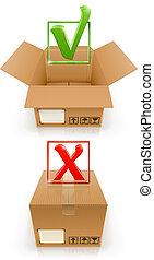 Kisten mit OK und streichen Mark