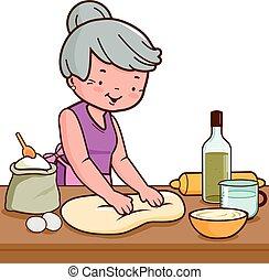 kitchen., bread, alte frau, machen, abbildung, vektor