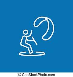 Kite Surf-Linien-Icon.