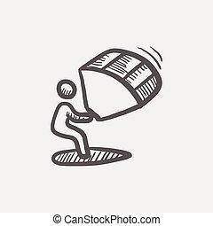 Kitesurf Sketch Icon