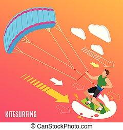 Kitesurfen isometrischer Hintergrund.